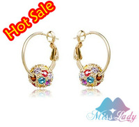 2013 18K Gold Plated Rhinestone Crystal Luxury Round Hoop Earrings Wholesale Fashion Jewelry for women 4193