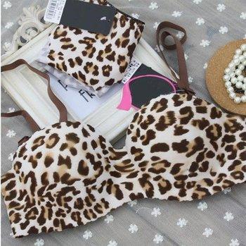 CU113# For women leopard print One-Piece  type seamless bra push up brassiere sexy bra set underwear bra sets