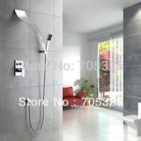 Waterfall Spout Bathroom+Valve+Water Spout Chrome Brass Shower Faucet Set  Wall Mounted Single Handle  JN-0006