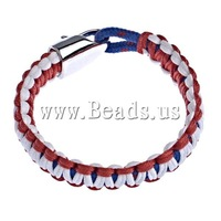 19 USD Free Shipping Survival Bracelets, red color wax cord & deep blue color elastic cord, with zinc alloy clasp, 14x7mm