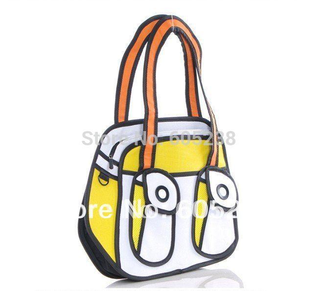 Мода комикс мультфильм 3d плечо мешок gismo мультфильм сумка желтая