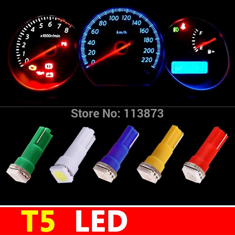 50 pcs intérieur de la voiture a mené la lumière led smd 5050 t5 1 t5 tableau de bord voiture a mené la lampe ampoule jaune/bleu,/vert,/rouge./voiture blanche source de lumière