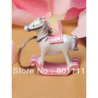 Free shipping Newly  Pink and Blue Rocking Horse Keychain for wedding party favors Mobile  accessories cell phone