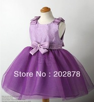 children girl princess lace skirt dress bow white colorAnd purple girl's dresses