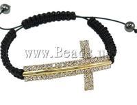 Free Shipping cross sideways shape brass with rhinestone Fashion Shamballa Bracelet