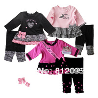 Baby girls long sleeve clothing set Baby girls kid casual set baby  T-shirts Tights Cotton clothes suit Little Spring  GTJ-T0087