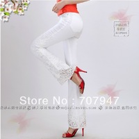 Free shipping 2014 elegant embroidered jeans bell-bottom jeans beading skinny jeans denim Fashion printing jeans women