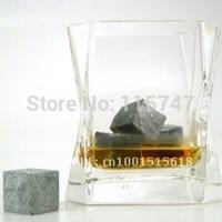 Whisky stone 9pcs set in velvet bag, 50sets/lot whiskey stones, black, whisky rocks, wine stone Christmas gift business gift