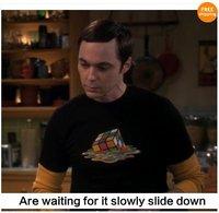 The Big Bang Theory Sheldon Cooper Melting Rubik's Cube 8 Color Mens Tshirt Tee