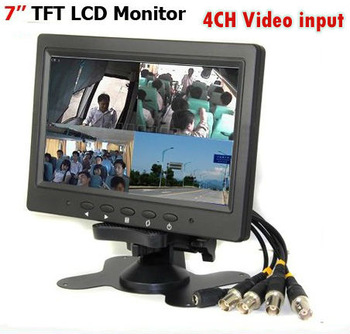 7 inch TFT LCD Color Screen 4CH Video input Camera Quad View Surveillance CCTV Monitor