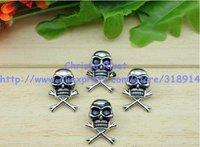 20sets/lot 1.5*2.5cm Silver Skull Rivet with Black Eyes Punk Rock Spike Fashion DIY Skeleton Stud Free Shipping