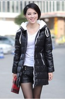 Free shipping women's down jacket long  coat lady winter warm padded parka slim leisure wear overcoat casual wear hoody