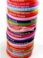 24X JB Justin Bieber 12styles Mix Silicone Bracelets Wristbands Wholesale Birthday Party Gift Favor Jewelry