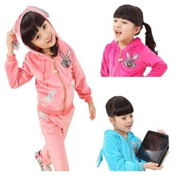 Girls Clothing sets Brand  New 2014 children's clothing autumn child female child cotton velvet fashion sports casual rabbit set