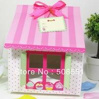 Free shipping PVC Window Four Cupcake boxes,Cake boxes 100pcs/lot New Arrival
