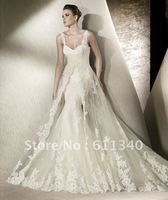 2014 Hot sale Sexy Mermaid Unique Lace Floor length White/Ivory Wedding Ball Gown Bridal Dress Size All Custom Size A-130
