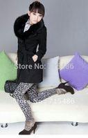 Free Shipping  Hot Sale  Slim Fit  Pants Black Mixed White Leopard Winter Leggings