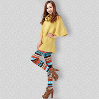 ML7568 Autumn Winter Warm Thick Colorful Crystal Pattern Snowflakes Women's Elk Knit  Winter Warm Leggings