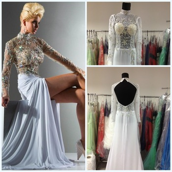 2013 Real Sample Sexy Front Slit White Long Sleeves High Neck Beaded Rhinestone Backless Prom Dresses 113C12