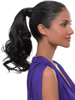 """Long Wavy Curly Clip in / Wrap around Ponytail Pony Dark Brown Wig Hair Piece Extensions 18"""" 45cm"""