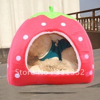 Free shipping  Red Cute Soft Cashmere Foldable Strawberry Design Style Pet Nest Dog Bed Cat Bed