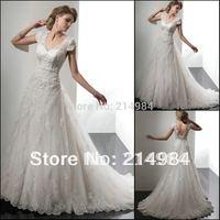 Hot Sale Elegant Wholesale/Retail Cap-Sleeve Lace Princess Wedding Dress Bridal Gown 2014