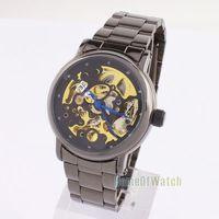 Мода часы роскоши Мужская Золотой тон скелет смотреть 6242
