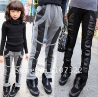 2012 Autumn Winter Plus & Thicken pants trousers girls Skinny Leggings kids wear 5pcs/lot 4-8 years free ship 650061J