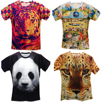 Wholesale or Retail New Women/men print panda/tiger animal 3d t shirt  Tee Top two side Pharaoh/cat  galaxy t shirt M/L/XL/XXL