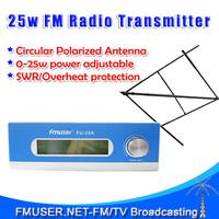 FMUSER FU-25A  25W FM Transmitter  0-25w adjustable Mono/Stereo+Circular polarized antenna  KIT for FM radio station