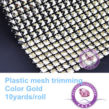 F871101 new design gold 20rows shiny plastic mesh trimming crystal rhinestone mesh wrap10yards per roll CPAM free