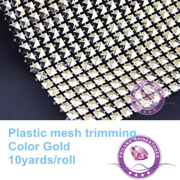 F871101 new design gold 20rows shiny plastic mesh trimming crystal rhinestone mesh wrap10yards per roll CPAM free