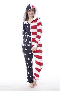 American flag one piece jumpsuit adult onesies Unisex onesies onezie onesie daffedress all in one piece elegant jumpsuit 2014