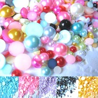 1000 pcs/lot Mixed Size from 2-10mm Craft Resin Flatback Half Pearl mixed  Color  and Jewelry DIY