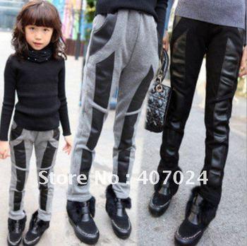 2012 Autumn Winter Plus & Thicken pants trousers girls Skinny Leggings kids wear 5pcs/lot 4-8 years  650061J
