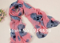 New scarf explosion models fashion personality wild velvet chiffon skull scarf shawl factory direct.