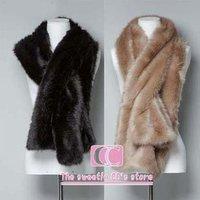 Free shipping wraps and scarfs fur winter solid (black/beige) soft-bristle fashion women's faux fur muffler scarf wholesale