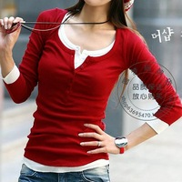 2013 New Style T Shirts Women Long Sleeve Cotton Brand New Top Tees Silm Shirts Women 7Colors Free Shipping