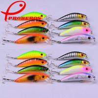 New 70mm 2 hooks Minnow Fishing hard bait Lures fishing tackle,hook lures 7CM 8G Japan hook Proberos style 8pcs free shipping