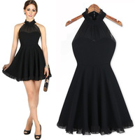 2014 New Summer Europe Style Womens Sexy Celebrity Dress Sleeveless Black Halter Design Casual Chiffon Party Dress Clothes