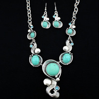 Vintage Look Tibet Silver Exotic Cascade Necklace Earring Turquoise Jewelry Set S056