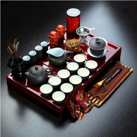 yixing teapot elegance porcelain tea service kungfu tea set 30pcs/set drinkware with solid wood tea tray Free shipping by EMS