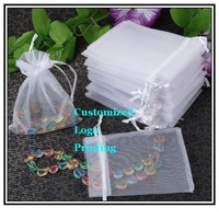 Wholesale 100pcs/lot 7x9cm Can Customized Logo White Wedding Drawable Organza Gift Packaging Bags&Pouches