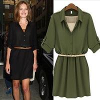 Sales Free Shipping Fashion High Quality Slim Vestido Turn-down Collar Ladies Chiffon Dress 2014 with Free Belt 1183