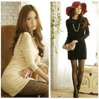 2014 Hot Sell! Elegant  Lace Long Sleeve Crew Neck Slim Bodycon Mini Dress 0096#