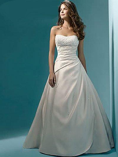 2014 Top Quality New Stock US Size 2-4-6-8-10-12-14-16-18-20-22 White/Ivory Satin Beading Strapless Wedding Dress Bridal Gown(China (Mainland))