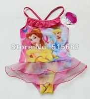 Retail-Hot sale-Freeshipping-Girls Fairy Princess Swimwear Tankini Beachwear Bikini Swimsuit Tutu Dress 2-8Y Bathing Costome New