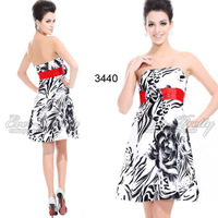 Hot Selling! Special Discount Strapless Floral Printed Rhinestones Ruffles Cocktail Dress