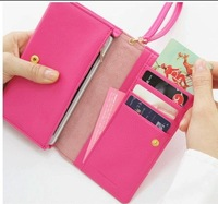 Free Shipping Fashion PU Coin Charges Carry Bag  Wallet Purse Coin Case Wristlet Pouch PU Leather Zip Wallet Clutches Bag