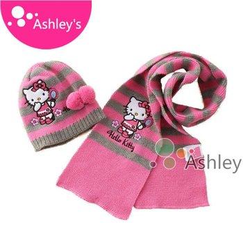 2013 explosion models Hello kitty 2pcs set 1-3 year baby girls/boy scarf + hat set infant baby autumn spring Kids cap